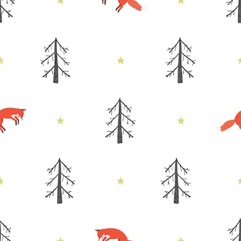 Seamless pattern of a winter forest with a fox. vector illustration