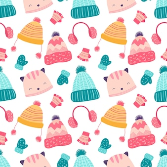Seamless pattern winter hats and mittens. cartoon background for packaging, fabrics, wallpapers, textiles.