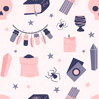 Seamless pattern of witchcraft elements on a pink background. attributes for magic. hand drawn