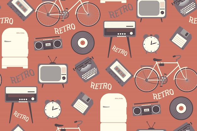 Seamless pattern with 80s years old objects. retro style