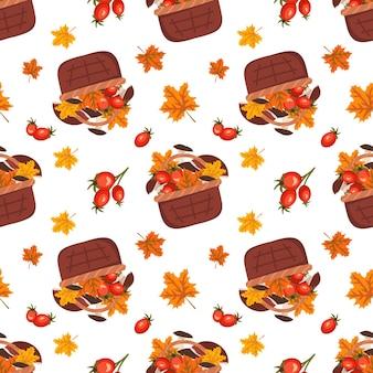버섯 단풍잎과 장미 엉덩이가 가을 수확으로 인쇄된 바구니가 있는 매끄러운 패턴입니다.