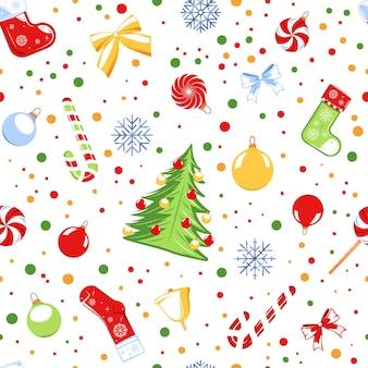 白い背景で隔離のクリスマスをテーマにしたシームレスなパターン