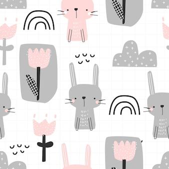 귀여운 토끼 무지개와 흰색 배경 벡터 일러스트 레이 션에 꽃과 원활한 패턴