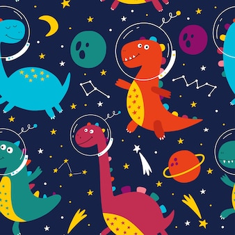 Бесшовный фон с милыми динозаврами в космосе динозавр космонавт рисованной векторные иллюстрации