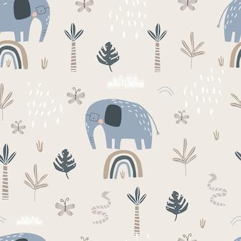 컬러 배경 벡터 일러스트 레이 션에 무지개에 귀여운 코끼리와 원활한 패턴