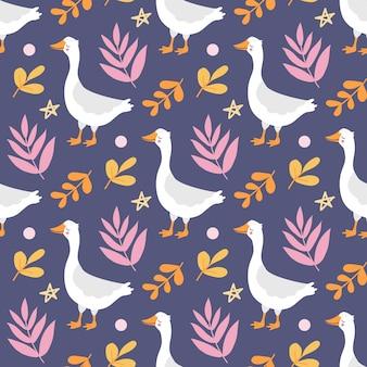 Бесшовный фон с милым забавным белым гусем среди растений на фиолетовом фоне в плоском стиле