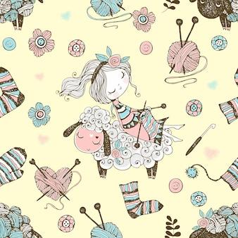 編み物をテーマにしたかわいい編み物の女の子と小さな羊とのシームレスなパターン。ベクター。