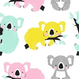 Бесшовный фон с милой коалой на белом фоне векторные иллюстрации для печати