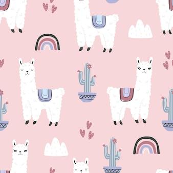 ピンクの背景にかわいいラマとサボテンとのシームレスなパターンベクトル図