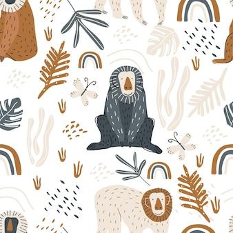 흰색 배경 벡터 일러스트 레이 션에 귀여운 원숭이와 나비와 함께 완벽 한 패턴