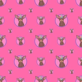 분홍색 배경에 귀여운 유니콘 개가 있는 매끄러운 패턴 포장지 포장용