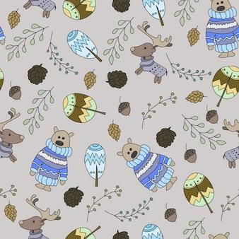 낙서 숲과 원활한 패턴 - 벡터