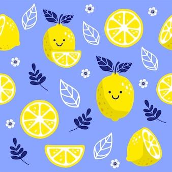 新鮮なレモンのかわいいキャラクターとのシームレスなパターン。