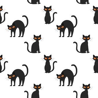 노란 눈을 가진 할로윈 검은 고양이와 함께 완벽 한 패턴입니다. 불만족, 찡그린, 화난 고양이