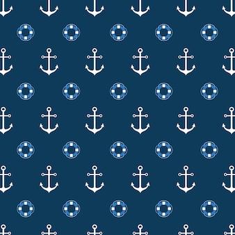 Бесшовный узор со спасательным кругом и якорем. яркий морской фон. векторный шаблон