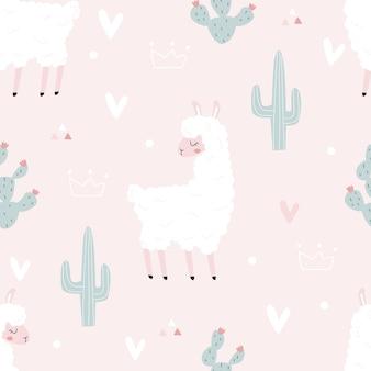 직물에 인쇄를 위한 분홍색 배경 벡터 일러스트 레이 션에 라마와 원활한 패턴