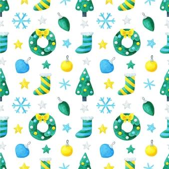 新年のデザインとシームレスなパターン。花輪、クリスマスツリー、花輪、スノーフレーク。クリスマスプリント