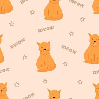 빨간 고양이와 함께 완벽 한 패턴입니다. 뚱뚱한 고양이가 앉아 꿈을 꾸고 텍스트 야옹을 하는 밝은 만화 벡터 삽화. 배경 화면입니다.
