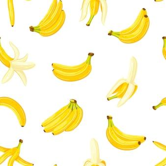 Бесшовный фон с набором бананов. мультяшный стиль.