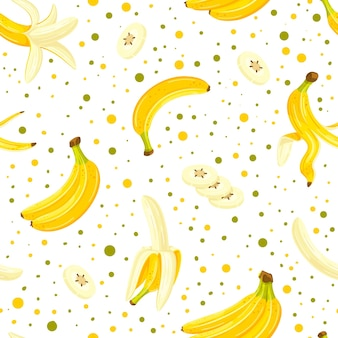Бесшовный фон с набором бананов, изолированных на белом фоне. мультяшный стиль.