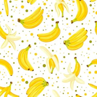 Бесшовный фон с набором бананов, изолированных на белом фоне
