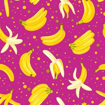 Бесшовный фон с набором бананов.