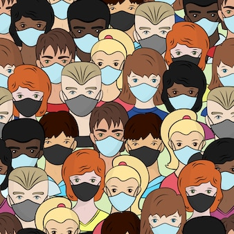 의료 마스크, 젊은 남자와 여자에있는 사람들의 세트와 함께 완벽 한 패턴은 흰색 바탕에 격리. 코로나 바이러스를 중지하십시오.