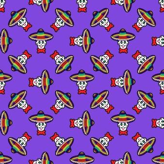 솜브레로 모자에 해골이 있는 매끄러운 패턴 할로윈을 위한 설탕 두개골 배경이 있는 패턴...