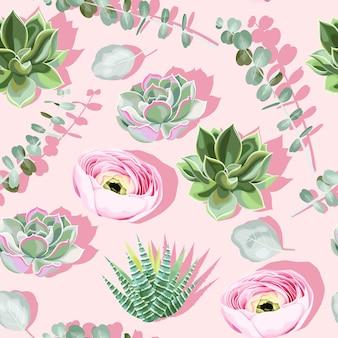 분홍색 그림자가 있는 분홍색 배경에 다육식물과 꽃이 있는 매끄러운 패턴