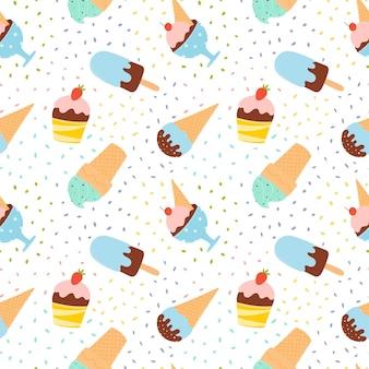フルーツやチョコレートを使ったさまざまなアイスクリームとのシームレスなパターン。夏のパターン