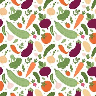 Бесшовный фон с различными летними овощами. красочные овощи в простом мультяшном стиле на белом фоне. отлично подходит для дизайна кухонного текстиля, меню или упаковки овощей.