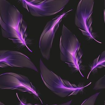 抽象的なカラフルな羽とのシームレスなパターン。