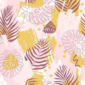 Бесшовный фон с абстрактным дизайном. пятна краски и листья тропического монстера и дипсис в розовых и желтых тонах.