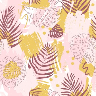 Seamless pattern with abstract design. spots of paint and tropical monstera leaves and dypsis in pink and yellow colors.