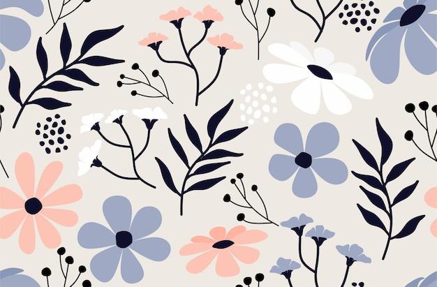 Бесшовный фон с абстрактным цветком и листом