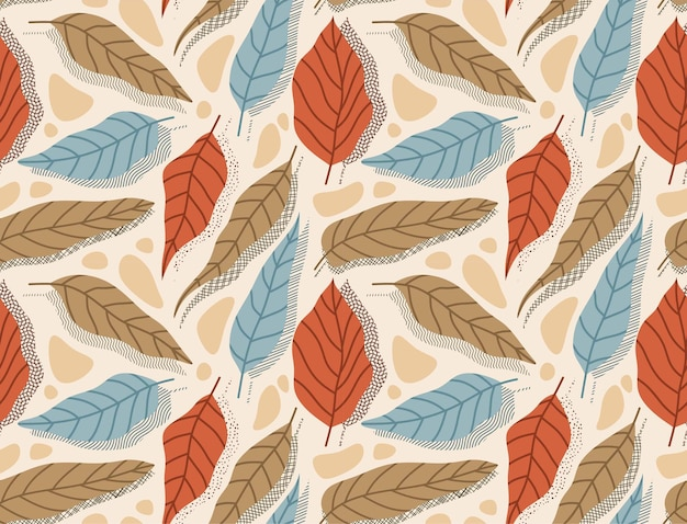 Seamless pattern with abstract flower and leaf