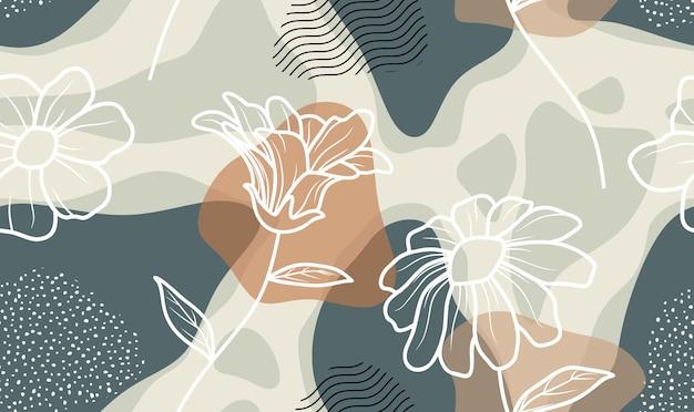 Бесшовный фон с абстрактными цветами и оставить
