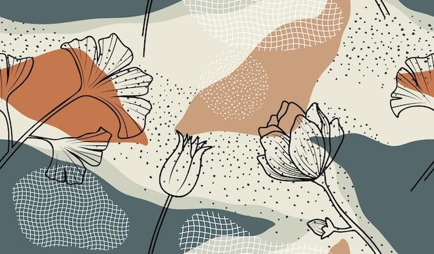 Бесшовный фон с абстрактными цветами и листьями.