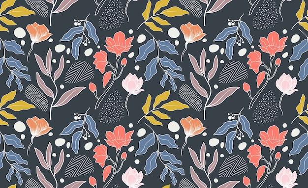 抽象的な花と葉とのシームレスなパターン。