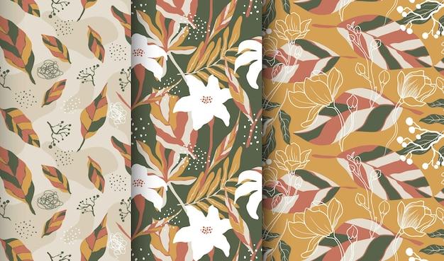 抽象的な花と葉とのシームレスなパターン