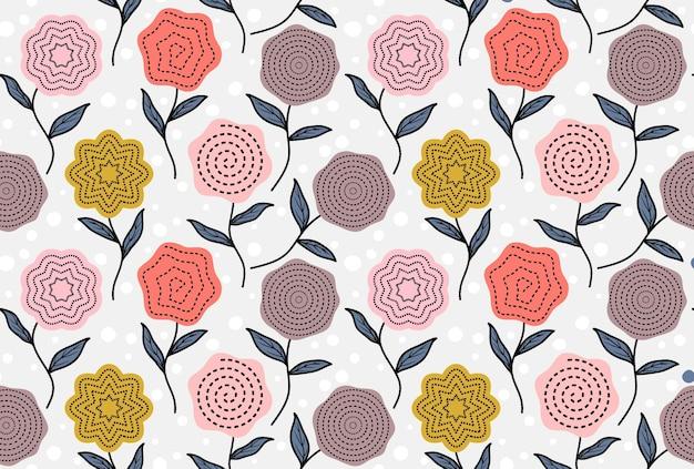 Бесшовный фон с абстрактными цветами и листьями