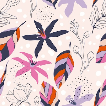 Seamless pattern with abstract flowers and leave.