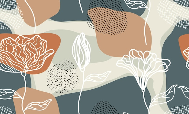 Seamless pattern with abstract flowers and leave