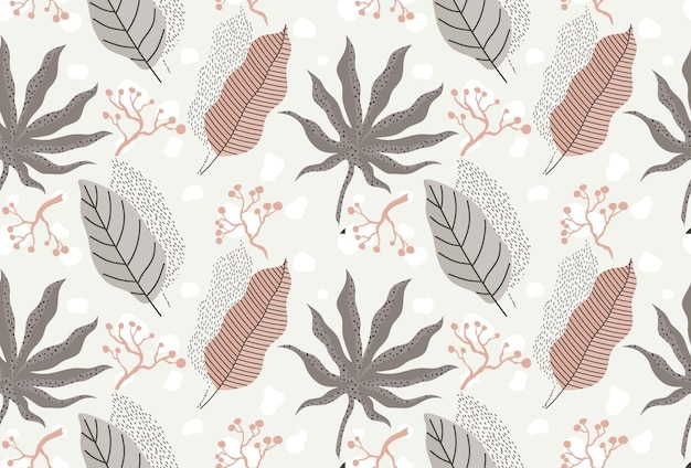 Seamless pattern with abstract flowers and leaves