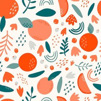 Бесшовный фон с абстрактными фруктами и листьями