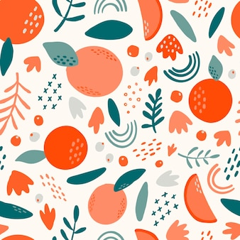 Seamless pattern with abstract fruits and leaves