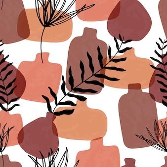 Бесшовный фон с абстрактными рисованной терракотовые вазы в пастельных тонах и ветвь на бежевом фоне.