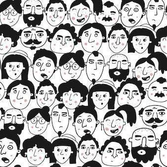 Бесшовный фон с абстрактными человеческими лицами
