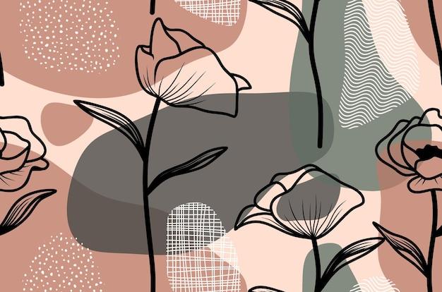 Бесшовный фон с абстрактным отпуском и цветком.