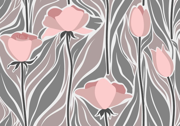Seamless pattern with abstract leave and flower.